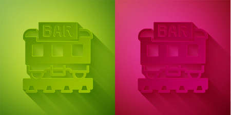 Paper cut Restaurant train icon isolated on green and pink background. Paper art style. Vector