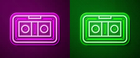 Glowing neon line VHS video cassette tape icon isolated on purple and green background. Vector Illustration 向量圖像