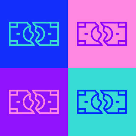 Pop art line Tearing apart money banknote into two peaces icon isolated on color background. Vector