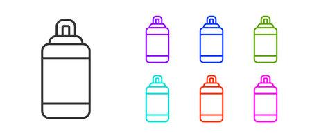 Black line Punching bag icon isolated on white background. Set icons colorful. Vector Ilustração Vetorial
