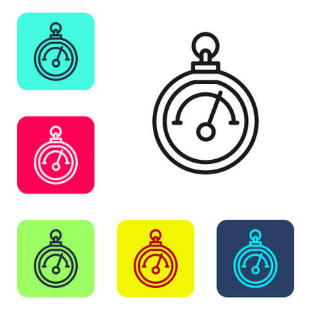 Black line Barometer icon isolated on white background. Set icons in color square buttons. Vector