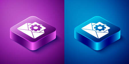 Isometric Envelope setting icon isolated on blue and purple background. Square button. Vector Illustration