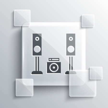 Grey Home stereo with two speaker s icon isolated on grey background. Music system. Square glass panels. Vector Illustration