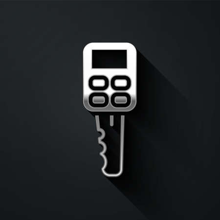 Silver Car key with remote icon isolated on black background. Car key and alarm system. Long shadow style. Vector Illustration