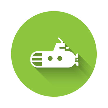 White Submarine icon isolated with long shadow. Military ship. Green circle button. Vector