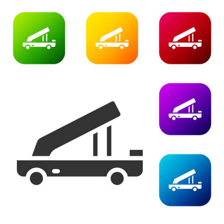 Black Passenger ladder for plane boarding icon isolated on white background. Airport stair travel. Set icons in color square buttons. Vector
