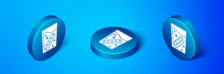 Isometric False jaw in glass icon isolated on blue background. Dental jaw or dentures, false teeth with incisors. Blue circle button. Vector