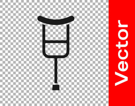 Black Crutch or crutches icon isolated on transparent background. Equipment for rehabilitation of people with diseases of musculoskeletal system. Vector