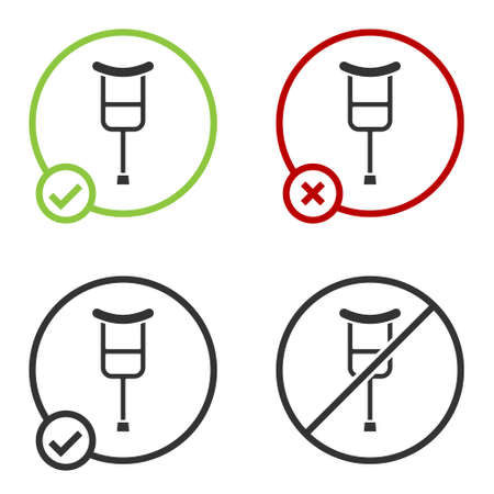 Black Crutch or crutches icon isolated on white background. Equipment for rehabilitation of people with diseases of musculoskeletal system. Circle button. Vector