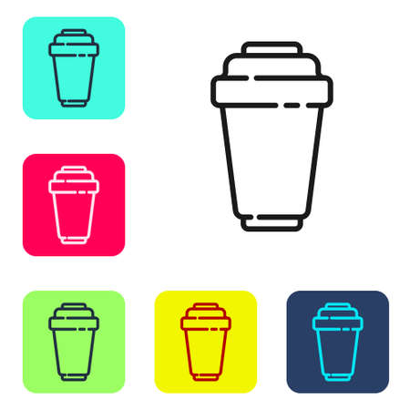Black line Water filter cartridge icon isolated on white background. Set icons in color square buttons. Vector Illustration Vecteurs