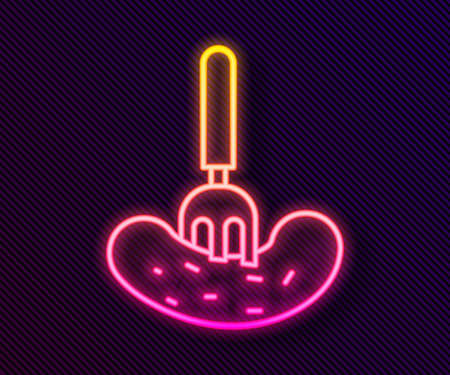 Glowing neon line Pickled cucumber on a fork icon isolated on black background. Vector Illustration