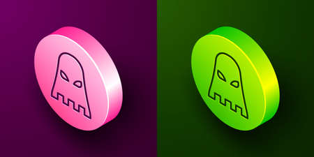 Isometric line Executioner mask icon isolated on purple and green background. Hangman, torturer, executor, tormentor, butcher, headsman icon. Circle button. Vector