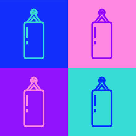 Pop art line Punching bag icon isolated on color background. Vector 向量圖像