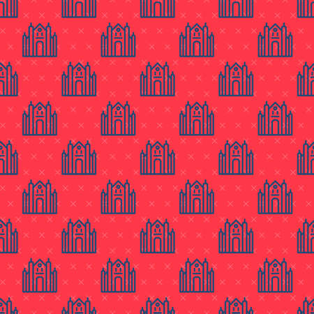 Blue line Milan Cathedral or Duomo di Milano icon isolated seamless pattern on red background. Famous landmark of Milan, Italy. Vector 矢量图像