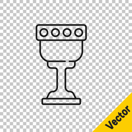 Black line Medieval goblet icon isolated on transparent background. Holy grail. Vector