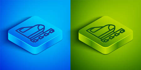 Isometric line High-speed train icon isolated on blue and green background. Railroad travel and railway tourism. Subway or metro streamlined fast train transport. Square button. Vector