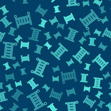 Green line Baby crib cradle bed icon isolated seamless pattern on blue background. Vector