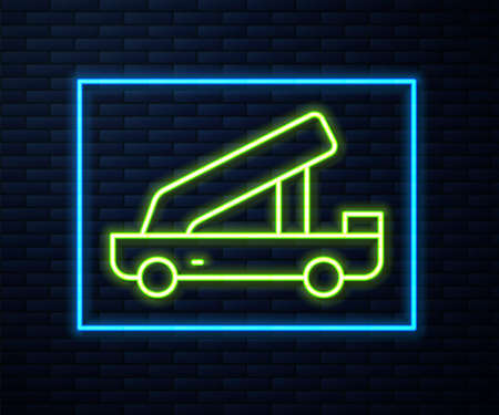 Glowing neon line Passenger ladder for plane boarding icon isolated on brick wall background. Airport stair travel. Vector