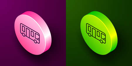 Isometric line Airport bus icon isolated on purple and green background. Circle button. Vector Vecteurs