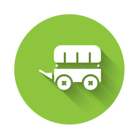 White Wild west covered wagon icon isolated with long shadow. Green circle button. Vector