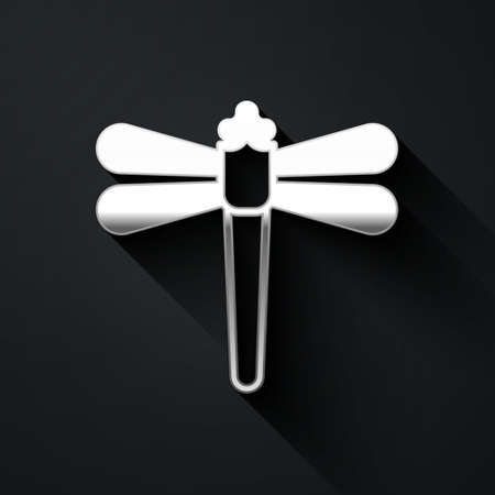 Silver Dragonfly icon isolated on black background. Long shadow style. Vector