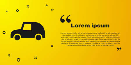 Black Toy car icon isolated on yellow background. Vector Ilustracja