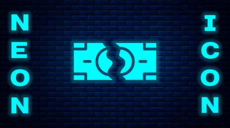 Glowing neon Tearing apart money banknote into two peaces icon isolated on brick wall background. Vector