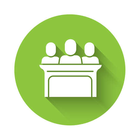 White Jurors icon isolated with long shadow. Green circle button. Vector