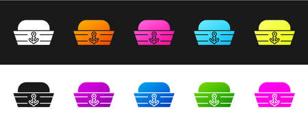 Set Sailor hat icon isolated on black and white background. Vector