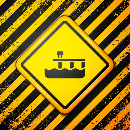 Black Beach pier dock icon isolated on yellow background. Warning sign. Vector