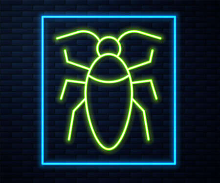 Glowing neon line Cockroach icon isolated on brick wall background. Vector