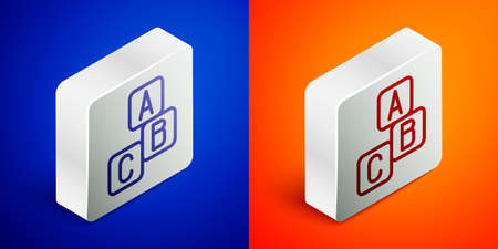 Isometric line ABC blocks icon isolated on blue and orange background. Alphabet cubes with letters A,B,C. Silver square button. Vector