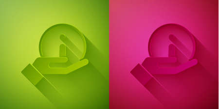 Paper cut Information icon isolated on green and pink background. Paper art style. Vector Illustration Illusztráció