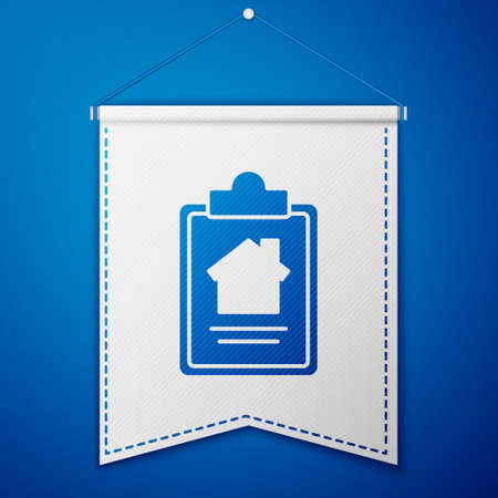 Blue House contract icon isolated on blue background. Contract creation service, document formation, application form composition. White pennant template. Vector Illustration