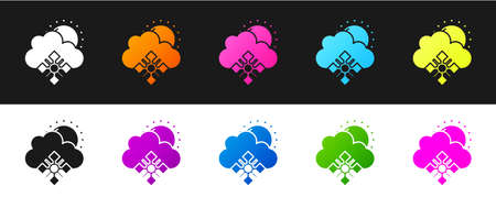 Set Cloud with snow and sun icon isolated on black and white background. Cloud with snowflakes. Single weather icon. Snowing sign. Vector