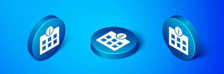 Isometric Information icon isolated on blue background. Blue circle button. Vector