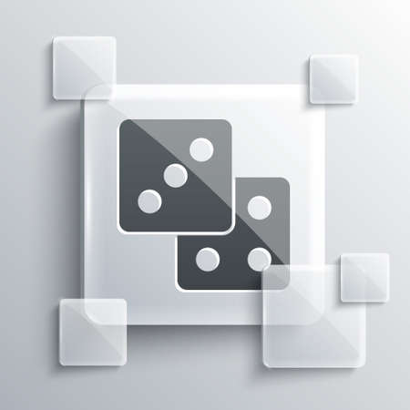 Grey Game dice icon isolated on grey background. Casino gambling. Square glass panels. Vector
