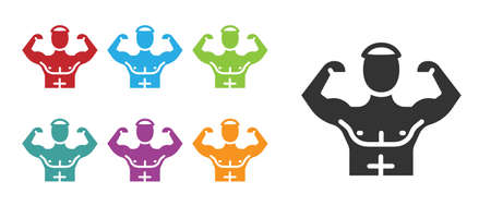 Black Bodybuilder showing his muscles icon isolated on white background. Fit fitness strength health hobby concept. Set icons colorful. Vector