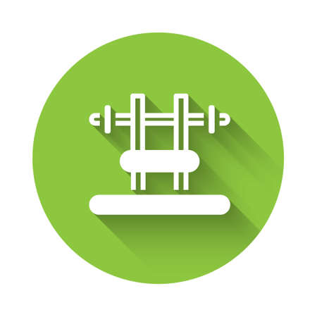 White Bench with barbel icon isolated with long shadow. Gym equipment. Bodybuilding, powerlifting, fitness concept. Green circle button. Vector Illustration