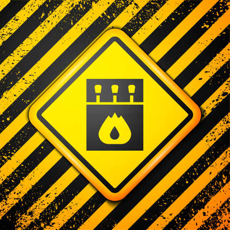 Black Open matchbox and matches icon isolated on yellow background. Warning sign. Vector