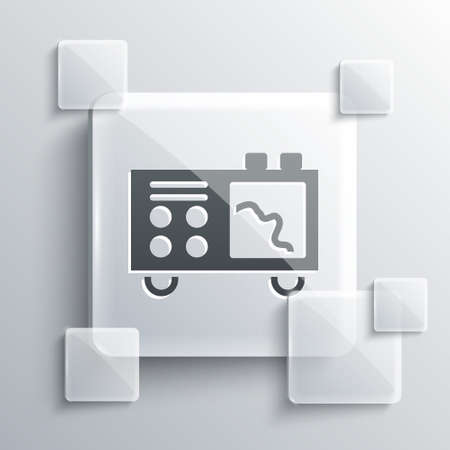 Grey Spectrometer icon isolated on grey background. Square glass panels. Vector