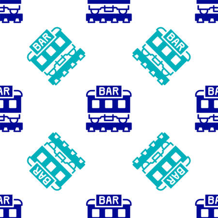 Blue Restaurant train icon isolated seamless pattern on white background. Vector