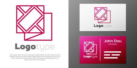 Logotype line Folded map icon isolated on white background. Logos