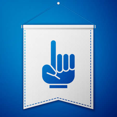 Blue Number 1 one fan hand glove with finger raised icon isolated on blue background. Symbol of team support in competitions. White pennant template. Vector Illustration