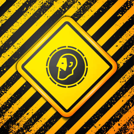 Black Ancient coin icon isolated on yellow background. Warning sign. Vector Vettoriali
