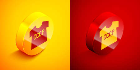 Isometric USSR t-shirt icon isolated on orange and red background. Circle button. Vector