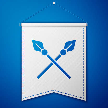 Crossed medieval spears icon isolated on blue background. Medieval weapon. White pennant template. Vector