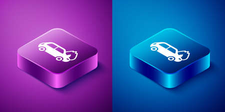 Isometric Burning car icon isolated on blue and purple background. Car on fire. Broken auto covered with fire and smoke. Square button. Vector