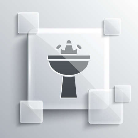 Grey Washbasin with water tap icon isolated on grey background. Square glass panels. Vector  イラスト・ベクター素材