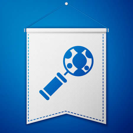 Blue DNA research, search icon isolated on blue background. Magnifying glass and dna chain. Genetic engineering, cloning, paternity testing. White pennant template. Vector